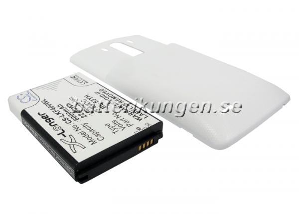 Batteri til LG G3 mfl - 6.000 mAh - Vitt